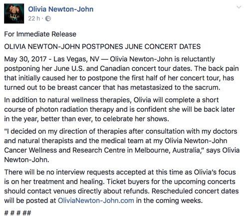 Olivia Newton-John ha di nuovo il cancro. Rinviati i concerti di giugno