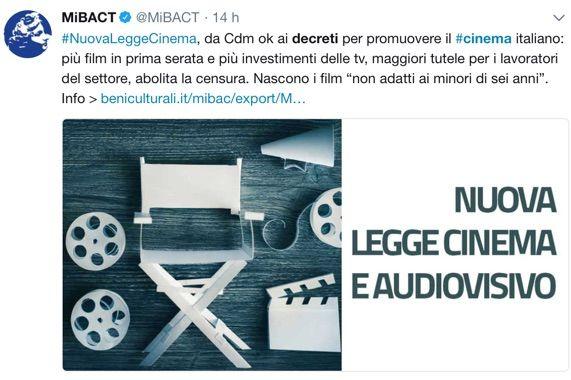 Cinema: abolita la censura e introdotta la categoria 'minori 6 anni'