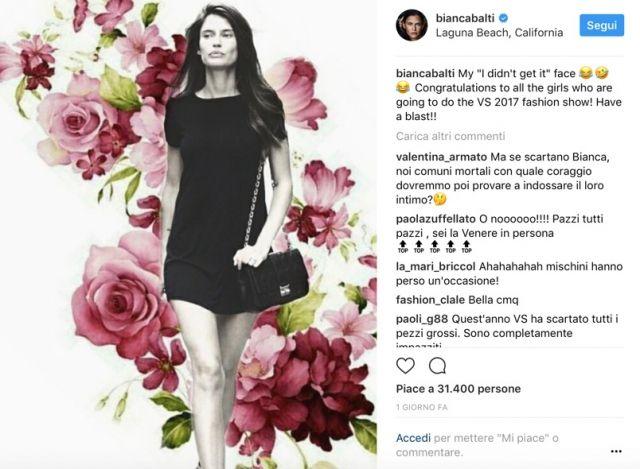 Bianca Balti furiosa, la modella risponde a Victoria Secret's