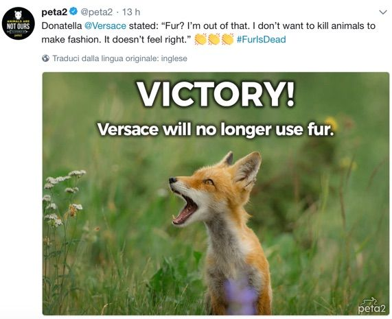 Versace rinuncia alle pellicce animali