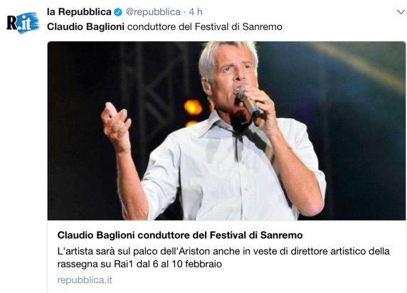 Claudio Baglioni verso la conduzione del Festival di Sanremo