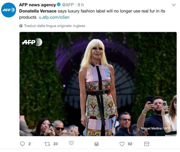 Versace come Gucci: basta pellicce. Bandite anche da Furla