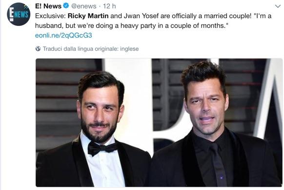 Ricky Martin e Jwan Yosef si sono sposati, presto i festeggiamenti…