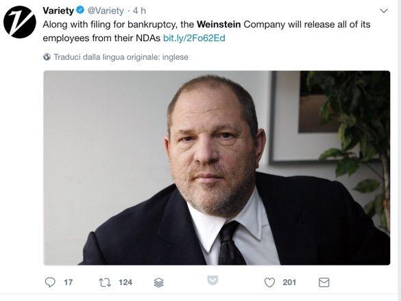 La società di Weinstein dichiara bancarotta