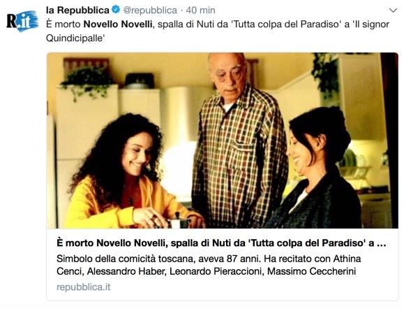 Addio al 'toscanaccio' Novello Novelli