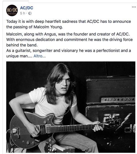 E' morto Malcolm Young, chitarrista e fondatore AC/DC