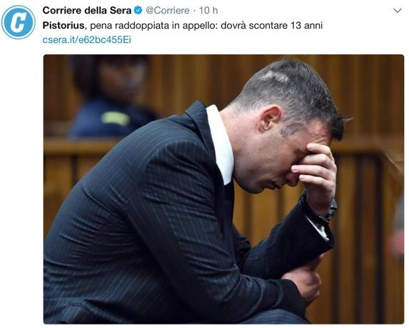 Pistorius, pena raddoppiata in appello
